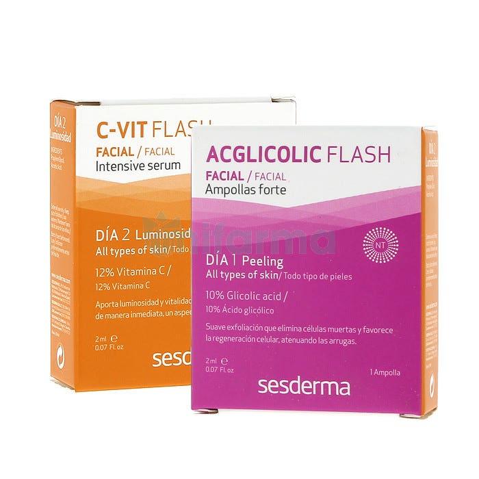 Sesderma 2 Ampollas Acglicolic Classic Forte 1,5l C-Vit Intensive Serum 1,5ml