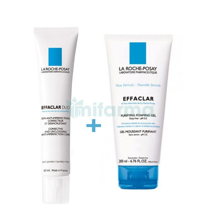 Effaclar Duo La Roche Posay 40ml   Gel Limpiador 200ml Pack