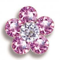 Pendientes Hipoalergénicos Flor 6 Cristales Rosa/Blanco Biojoux 1 Par